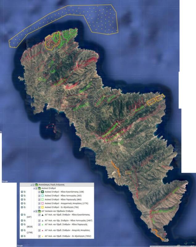 Χάρτης Άνδρος Ανεμογεννήτριες